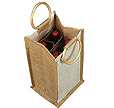 Four Bottle Cotton And Jute Wine Bag With Wooden Handles By Kope Initiatives